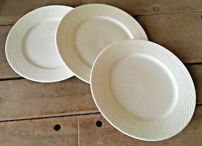 3 Dinner Plates Capri Basketweave Tabletops Unlimited 518372 White Gallery 10.5""