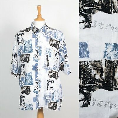 Men's Vintage 90's White Blue Abstract Pattern Shirt Wavey Ibiza Short Sleeve Xl