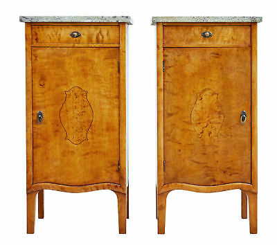 Pair Of Early 20Th Century Birch Art Nouveau Bedside Cupboards