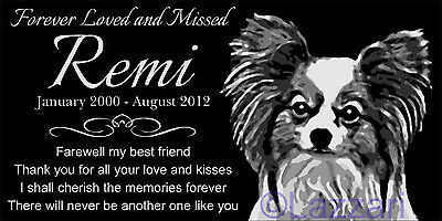 Personalized Papillon Dog Pet Memorial 12x6 Custom Engraved Granite Grave Marker
