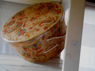 Cardboard Paisley Patterned Large Hat Box with Carrying String - Vintage Retro