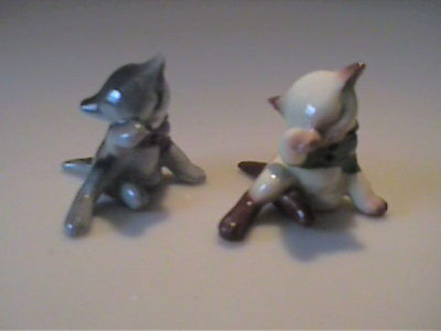 Vintage 1956 Miniature Hagen Renaker Two Kittens Who Lost Their Mittens