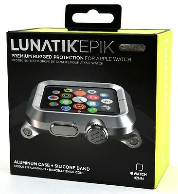 NEW LunaTik EPIK-008 Silver Aluminum Case Black Silicone Band 42mm Apple Watch