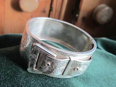 large victorian sterling silver buckle bangle 1885 hallmarked ornate engraving