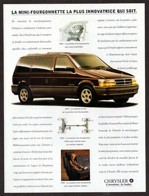 1993 DODGE Caravan Vintage Original Print AD - Brown car Chrysler photo french