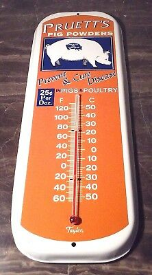 Rare Pruetts  Pig Powder Thermometer Tin Farm Sales Advertising Pig & Poultry