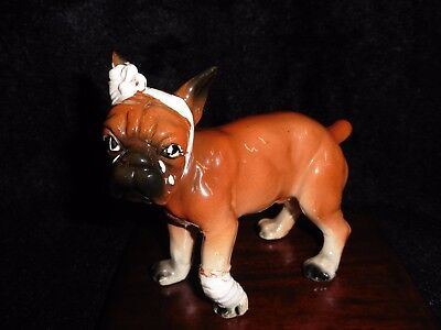 VINTAGE Boxer Dog Figurine with Leg & Head Bandages Made in Japan