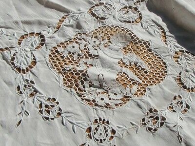 Vintage Tablecloth Pierced w Inset Lace Cherubs, Angels, Roses 120 by 67 Inches