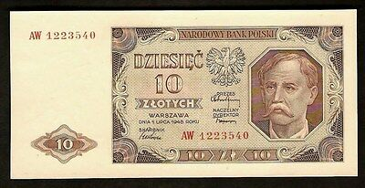 Poland 10 Zlotych  1948  UNC Rev: Corn Harvesting