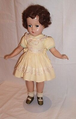 Arranbee Nannette doll 1950s short curly brunette hair 14.5 inches yellow dress