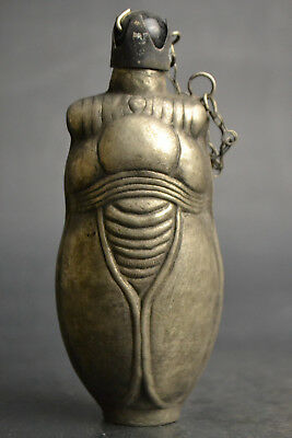 China hand Vintage Collectible Old Silver carve cicada big rare Snuff Bottle