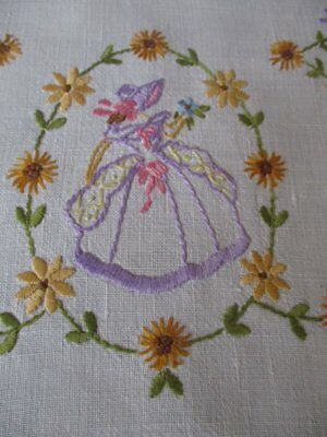 Vintage Tray Cloth - Crinoline Ladies & Flowers