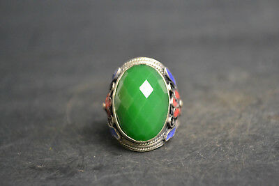 Collectible old multiaspect Cloisonne Carve Flower Beauty Inlay Green Jade Ring