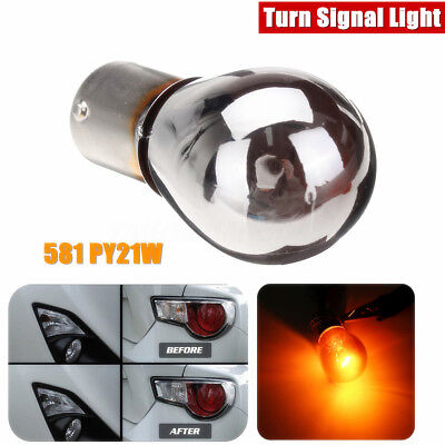 Chrome Sliver Amber Turn Signal Light Front Indicator Bulb Lamp BA15S 1156 P21W