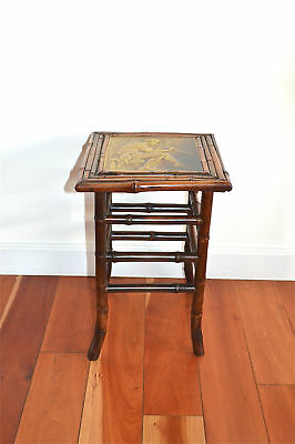 Original Arts and Crafts bamboo plant stand with Pied Piper tile top circa.1900
