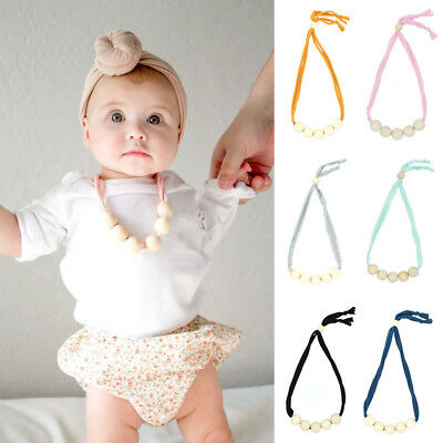 Natural Baby Wood Teething Chain Necklace Newborn Mom Kids Nursing Teether Toy