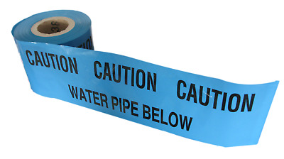 CAUTION WATER PIPE BELOW Underground buried pipe warning tape 20 Mtr Cut Length