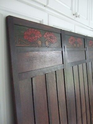 Antique Original Art Nouveau 3 fold wooden screen/room divider  flower panels
