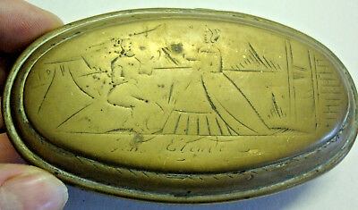 Antique 18th century brass Dutch tobacco box decorated with lady
