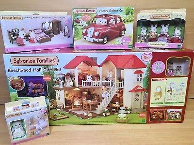 Sylvanian Families Beechwood Hall Gift Set + Car + Figures + Furniture Bundle!