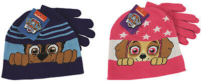 Paw Patrol Childrens Beanie Hat & Pair Gloves Set Blue Chase or Pink Skye 3-6yo