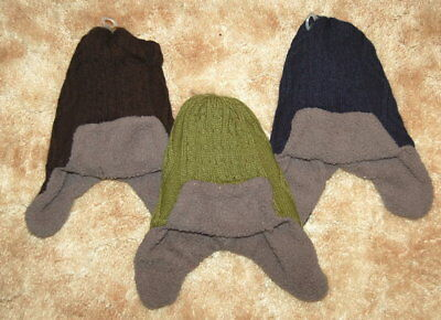 Baby Toddler Boys CABLE KNIT WINTER TRAPPER HAT Sherpa Lined BLUE GREEN BLACK