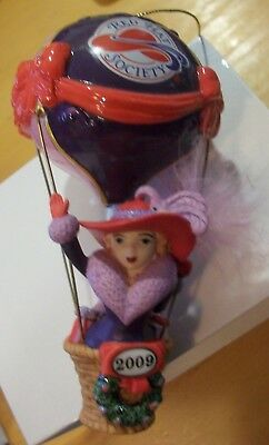 Red Hat Society Annual Christmas Ornament Ruby Hot Air Balloon Danbury Mint