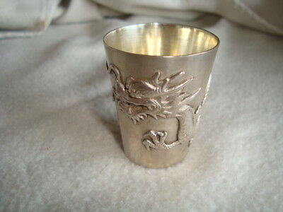 Antique Hung Chong Chinese Silver Dragon Beaker Signed 1860-1930 Vodka Cup