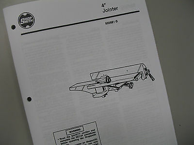 Shopsmith Jointer Manual 505681, User's Guide