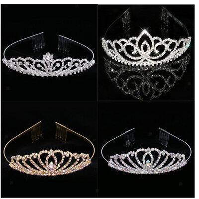 Glitter Princess Tiara Bridal Crystal Wedding Flower Crown Headpiece