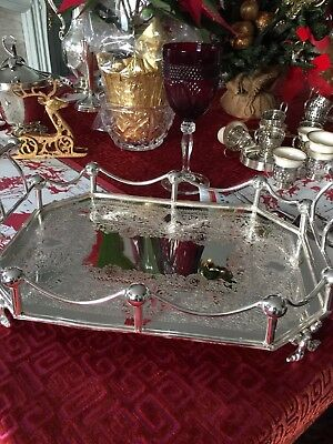 Antique English Victorian Silver Plate Rectangular Gallery Tray – Unique