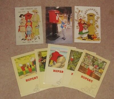 Mixed Lot Of Eight Rupert Bear Postcards All Unused But Most With Pinholes