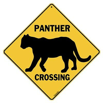 Panther Silhouette Crossing Sign NEW 12X12 Metal Puma Mountain Lion Cougar