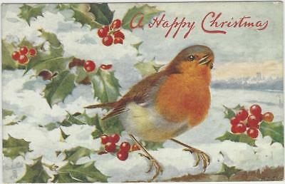 Animal Postcard -Court -TUCK-c1066-CHRISTMAS ROBIN A. WEST (Alice Lizzie West)