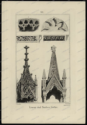 Druck-Stahlstich-Engraving-J.Ruskin-R.P.Cuff-Linear and Surface Gothic-82