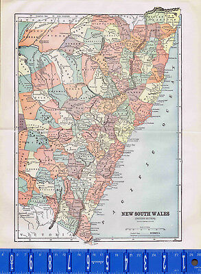 1907 Eastern New South Wales England Antique Country Map Bonus
