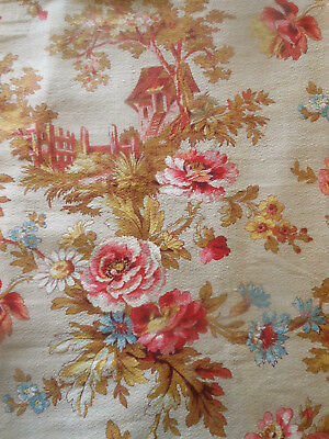 Antique French Country Cottage Roses Floral Cotton Fabric ~  Coral Pink Blue