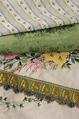 Antique  French fabric Project bundle silk trim passementerie material green