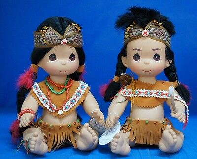 """Little Brave & Tender Heart Precious Moments 12"""" Doll Set 4428 4429 UnSigned"""
