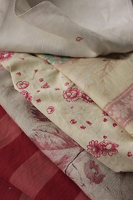 Antique French linen PROJECT BUNDLE floral fabric material cutting Pillow pieces