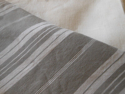 Antique Rustic French Gray Wide Stripe Cotton Linen Ticking Fabric ~