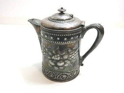 Antique Simpson Hall Miller Co Silverplate Water Pitcher / Porcelain Lined
