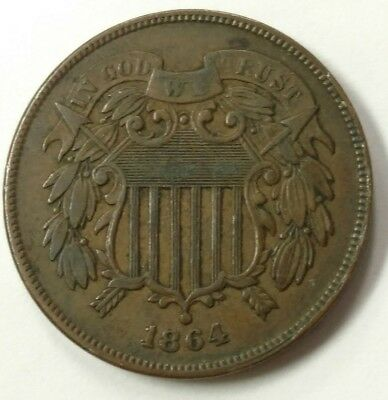 1864 Large Motto 2 Cent Piece RPD Cherrypickers DDO XF WOW!!!