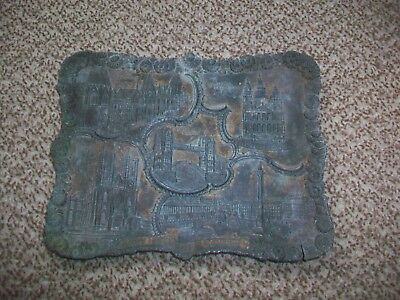 COPPER TRAY SCENES OF LONDON TARNISHED BELIEVED VINTAGE 6 x 5 INCHES