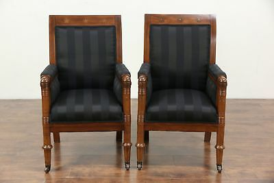 Pair of Antique 1900 Empire or Biedermeier Chairs, Denmark, New Upholstery