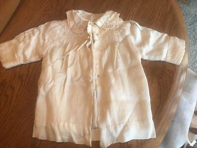 Vtg Antique Child Baby Girl Doll Dress Hand Made Embroidered Trim Ivory Silk