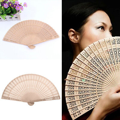 Women Ladies Wooden Sandalwood Hand Fan Wedding/ Birthdays Partys Perfect Gift~