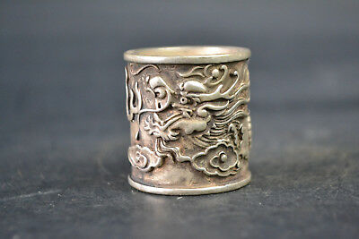 Collectible Vintage China Old Tibet Silver carved relief dragon sacred Ring