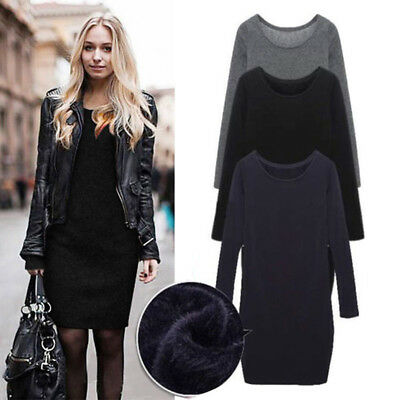 femme hiver manches longues sweat en polaire Robe Pulls Tricot pull chaude Heiß