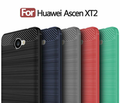Carbon Fiber Hybrid TPU Soft Rubber Cover Shockproof Case For Huawei Ascend XT2